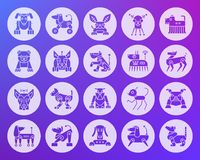 Robot Dog shape carved flat icons vector set. Robot Dog icons set. Web sign kit of pet. Character pictogram collection includes transformer, machine, cyborg Royalty Free Stock Photo