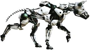Robot Dog, Mechanical Machine, Isolated. Mechanical robot machine dog. The animal pet is made of metal parts. Isolated on white, PNG file available stock illustration