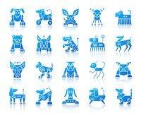 Robot Dog simple gradient icons vector set vector illustration