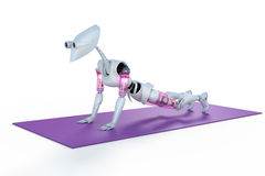Robot Doing Push Ups Stock Photography