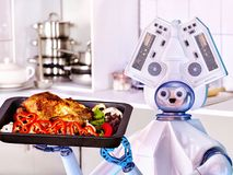 Robot domestic assistance cook at kitchen. Robot domestic assistance cook chicken at kitchen and deliver food . Artificial intelligence help people with Royalty Free Stock Images