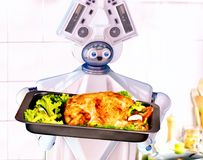 Robot domestic assistance cook at kitchen. Stock Photography