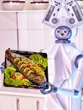 Robot domestic assistance seafood cook fish. Stock Photo