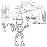Robot. Doodle design style concept of leadership in business, career opportunities and strategy vision,  technical support Royalty Free Stock Images