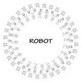 Robot doodle frame. Royalty Free Stock Images