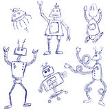Robot doodles. Doodle sketches of funny robotic characters Royalty Free Stock Photo
