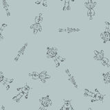 Robot doodles pattern. Seamless robot doodle pattern. The concept of science and the future. Cartoon style. Hand-drawn illustration Stock Image