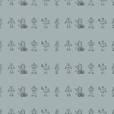 Robot doodles pattern. Royalty Free Stock Photos