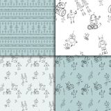 Robot doodles pattern set. Vector robot doodle seamless pattern set. Concept of science and future. Cartoon style Stock Photo