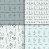 Robot doodles pattern set. Vector robot doodle seamless pattern set. Concept of science and future. Cartoon style. Hand-drawn illustration Royalty Free Stock Photos