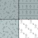 Robot doodles pattern set. Stock Photography