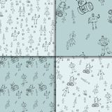 Robot doodles pattern set. Vector robot doodle seamless pattern set. Concept of science and future. Cartoon style. Hand-drawn illustration Stock Images