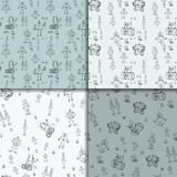 Robot doodles pattern set. Vector robot doodles. Seamless pattern set. Concept of science and future. Cartoon style. Hand-drawn outline illustration Stock Image