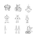 Robot doodles set. Royalty Free Stock Photography