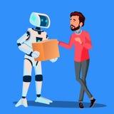Robot Dostarcza pakunki Obsługiwać wektor button ręce s push odizolowana początku ilustracyjna kobieta royalty ilustracja