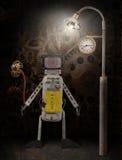 Robot drôle avec la fleur se tenant sous un réverbère Photo stock