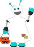 Robot dressed as ghost holding pumpkin waving Stock Photography