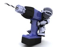 Robot with drill Royalty Free Stock Photos