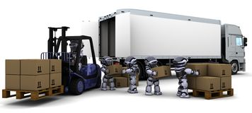 Robot Driving a  Lift Truck Stock Image