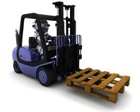 Robot Driving a  Lift Truck Stock Images