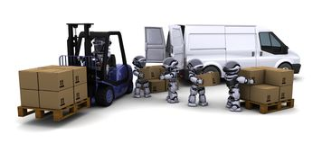 Robot Driving a  Lift Truck Royalty Free Stock Photo