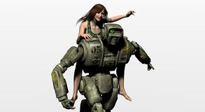 Robot droid. A robot running with woman on back Royalty Free Stock Image