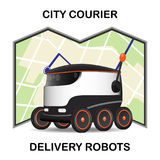 Robot drone delivers the parcel. The concept of fast, free delivery, gift. Vector illustration Stock Image
