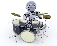 Robot with Drum Kit Stock Photography