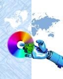 Robot, DVD en kaart Royalty-vrije Stock Foto's