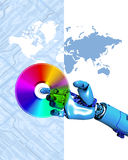 Robot, DVD and map. Conceptual illustration of robot arm and computer disc displayed against a computer curcuit board background with world map Royalty Free Stock Photos