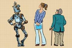Robot, dziewczyna i starzy widzowie, jesteśmy z powrotem Zdjęcie Stock