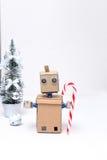 Robot e decorazione e nuovo anno di Natale Caramella Immagine Stock