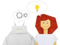 Robot e dialogo umano immagine stock