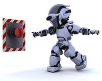 Robot e pulsante Fotografia Stock