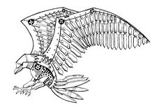 Robot eagle. Illustration of robot eagle isolated on white. Attacking eagle tattoo. Line art Stock Photos