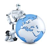 Robot with earth globe. Isolated. Contains clipping path Stock Images
