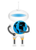 Robot with Earth Royalty Free Stock Photography