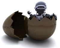 Robot with easter egg Stock Photo