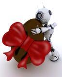 Robot with easter egg vector illustration