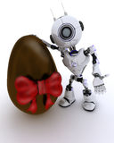 Robot with easter egg Stock Photography