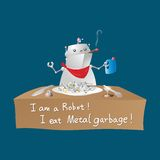 Robot eating metal garbage royalty free stock image