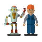 Robot ed uomo che lavorano insieme stare su un fondo bianco Retro stile piano Illustrazione di vettore royalty illustrazione gratis