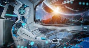 Robot in een controlekamer die een wit modern ruimteschip met venstermening vliegen bij het ruimte 3D teruggeven royalty-vrije illustratie