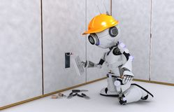 Robot electrician. 3D Render of a Robot electrician Royalty Free Stock Images
