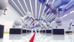 Robot elegante de la industria de la automatización en la acción almacen de video