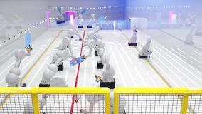 Robot elegante de la industria de la automatización en la acción metrajes