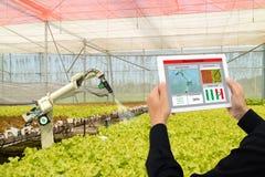 Robot elegante 4 de la industria de Iot 0 conceptos de la agricultura, agrónomo industrial, granjero que usa tecnología de inteli imagenes de archivo