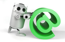 Robot With Email Sign. Render on white background Royalty Free Stock Photo