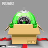 Robot with Emotions in Open Gift Box Royalty Free Stock Photography