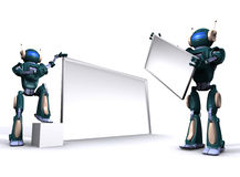 Robot with empty billboard Stock Photo